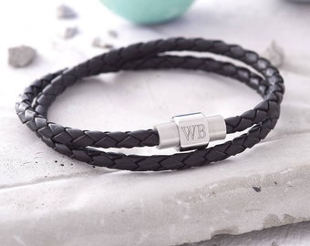 Mens Personalised Clasp Double Leather Bracelet (HBMB12 / DBL)
