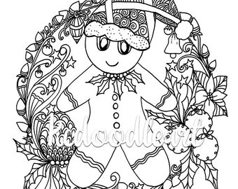 Instant Digital Download - Coloring Page - Gingerbread Man