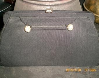 1940s L & M spot-lite exclusive black grosgrain clutch with rhinestone accent