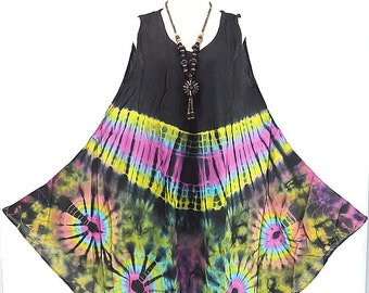 Dress Tie Dyed Rayon Multicolor Hippie Boho Comfortable Thailand Maternity Dress Sundress Casual Dress Summer Dress plus size L- 4X