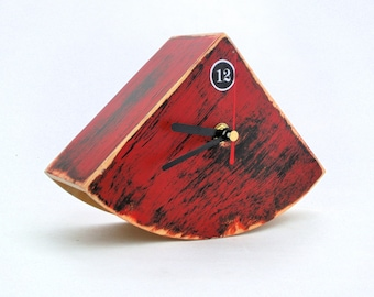 Red Table clock, Wooden Desk Black Red Clock, Rustic style Unique gift, Back to school, Home decor for home, Autumn home decor, Office desk