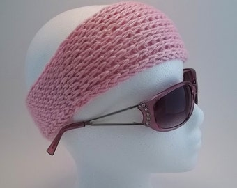 Braided, a knit look crochet Headband with Rosa Flower pattern. Instant Download.
