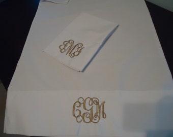 Monogrammed White Percale Pillowcases - bride and groom pillowcases - white monogrammed pillowcases- pillowcases - wedding gift pillowcases