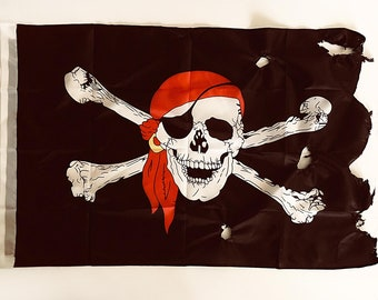 Beach Decor Pirate Flag 2x3 FT Jolly Roger Black 90X150cm by SEASTYLE