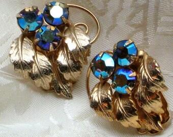 Wedding Crystal Earrings Estate Aurora Borealis Purple Blues Crystals AB Vintage Rhinestones Hollywood Antique Bling Sparkle Marilyn 50s VLV