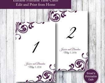 Flourish Wedding Table Cards Template DIY Printable - Flourish Theme - Editable - Edit in Microsoft Word Format - Plum / Purple