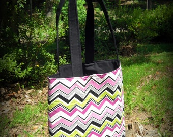 Electric Chevron Tote Bag
