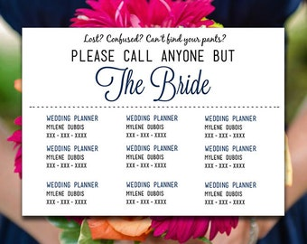 Please Call Anyone But the Bride - Wedding Contact Information Card - Marine Wedding Insert Information Card Template - Wedding Contact Card