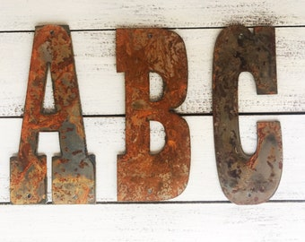 """Custom Initial - 12"""" Rusty Metal Letters - Make your own Sign, Gift, Art! LARGE!"""