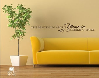 Memories Wall Quote Decal - Vinyl Word Art Custom Home Decor