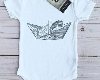 UNIQUE HEDGEHOG- Origami Paper Boat -Organic Baby Bodysuit, Boho Baby, Baby Shower Gift, Baby Shirt