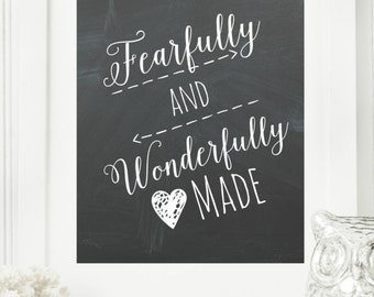 "Limited Edition Digital Print - Instant ""Psalm 139"" Chalkboard Wall Art Print 8x10 Printable File Encouraging Home Decor"