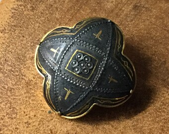 Older Spanish Damascene Dome Brooch Pin Unsigned 1940's 1950's Black Gold Etching Gold Tone Frame Gold Dots Rounded Cross Shape Matte Finish