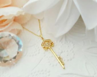 Crystal Key Necklace - Sparkly Key Necklace - Skeleton Key Necklaces for Women - Gold Key Necklace - CZ Key Necklace - Key To My Heart N5806