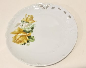 Yellow Porcelain Rose Plate