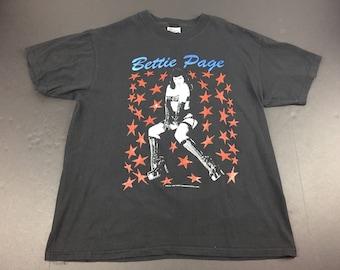 Vintage 1997 bettie page pinup t-shirt mens L 90's