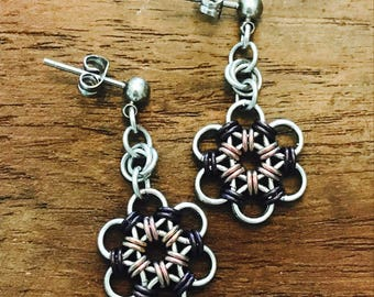 Chainmaille Japanese Flower Plum Earrings Stainless Steel