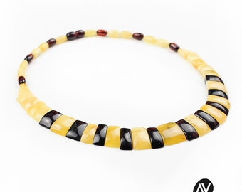 Free shipping amber collier   Mixed colour amber collier   Stunning amber collier for her   Luxury amber collier   AV0060
