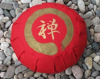 Zafu Meditation Cushion Pillow Zen Enso Red