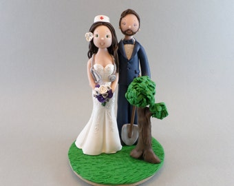 Cake Toppers - Nurse & Gardener Customized Wedding Cake Topper