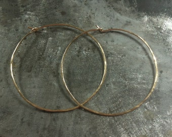14k YELLOW gold filled earrings - 5 cm - hoops - textured - perfect gift idea