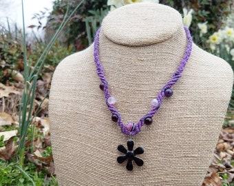 Purple and Black Flower Hemp Necklace with Purple Agate Beads, Adjustable, Micromacrame