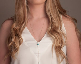 Long Sterling Silver Turquoise Necklace, Turquoise Lariat, Turquoise Y necklace, Silver and Turquoise Necklace, Simple Y Necklace