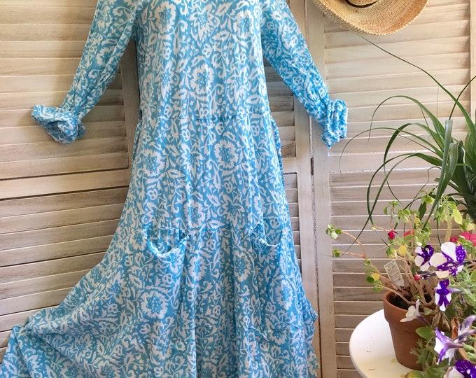 Cotton voile block print prairie dress