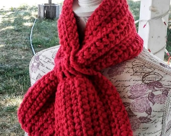 Bright Scarlet Red Miss Marple Ascot Scarf Crocheted Version Super Chunky Scarflette, Red