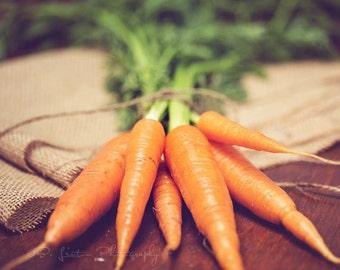 Food Photography - Kitchen Art - Carrots Photograph - Dining Room Decor - Fine Art Photography Print - Green Orange Brown Kitchen Decor