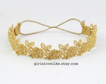 Gold Skinny Rose  Lace Elastic Headband, Bridal Headband, Elastic Headband, Boho Headband, Hair Band