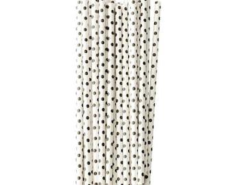 Black and White Polka Dot Paper Straws, Black and White Striped Paper Straws
