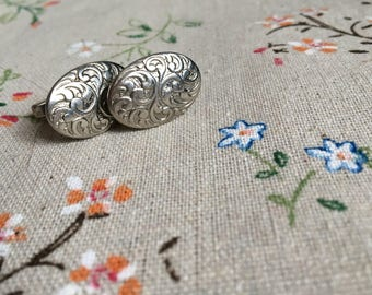 Vintage 1970's Engraved Sterling Silver Cuff Links