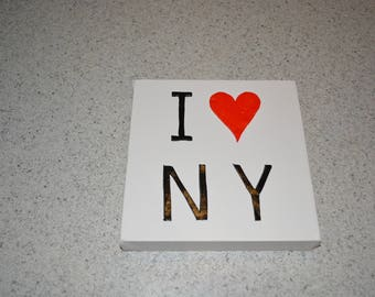 Cotton canvas 3D i love NY black red and white
