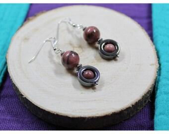 Earrings Silver 925 gemstones beads: Hematite - Rhodonite