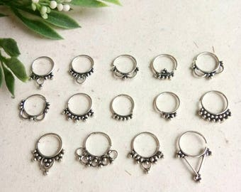 Septum Ring, Real septum, 14 Designs, Handmade, silver Septum Ring, piercing Septum, Cuff, Septum Clip, Tragus, Helix, Cartilage. GS14