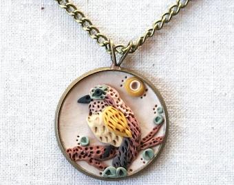 Earth Clay Jewelry - 18'' Pendant Necklace, Miniature Nature Scene Sculpture - Mint Bird
