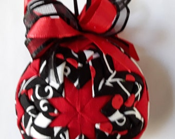 Black and Red Holly Christmas Quilted Ornament