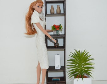 """1:6 scale shelf_mid-century_modern dollhouse furniture_wooden playscale wall unit for 10"""" to 12"""" dolls."""