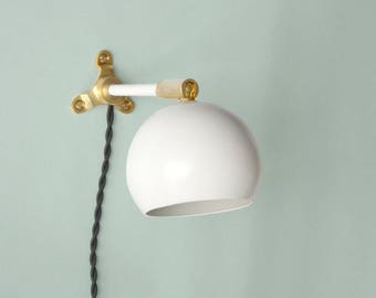 Plug in wall sconce • Marylou • Powder Coated White • Solid Brass •  Mid-century Modern LED wall lamp