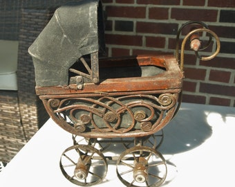 Vintage Doll Carriage / Cart / Stroller Buggy made of Wicker and Steel with Canvas Canopy
