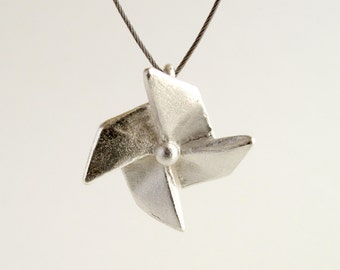 Origami Pinwheel Necklace Sterling Silver Pinwheel Pendant Origami Windmill Necklace Origami Jewelry