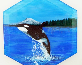Hand Painted Glass Ornament - Orca with Mt. Rainier