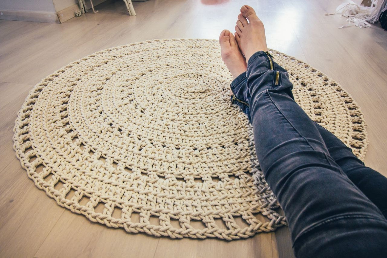 en stock macram crochet rond tapis tapis de coton. Black Bedroom Furniture Sets. Home Design Ideas