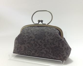 Gray Clutch/ Floral / Vintage kimono bag/ Silver purse frame/hand made/2