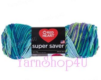 WILDFLOWER Red Heart Super Saver, Blue Purple Green Multi color Acrylic yarn, 5oz, Blue Rainbow Ombre, Blue Variegated, medium economy yarn