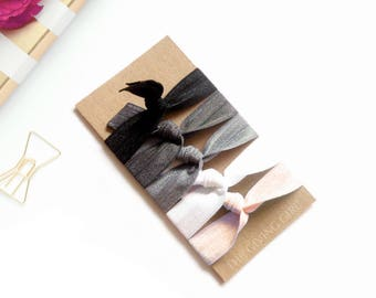 Peach Fizz: 5 Handmade Hair Ties, Solid Colors, Elastic