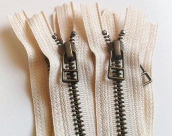 YKK metal zippers -antique brass finish -DHR wire style pull- (5) pieces - Off White Cream 099- Available in 6,7,9,10,12,14,16 and 18 Inch