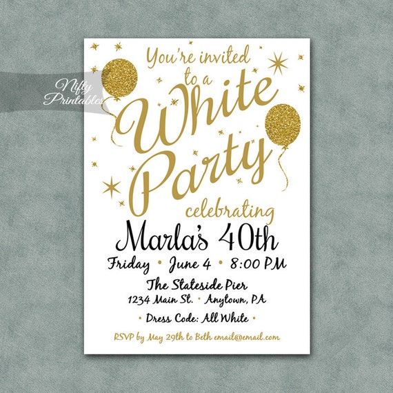 White Party Invitation Printable White  Gold Black Tie