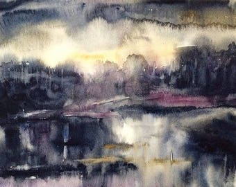 Abstract landscape, landscape watercolor, wet in wet painting, abstract watercolor, landscape painting, monochrome painting, minimal
